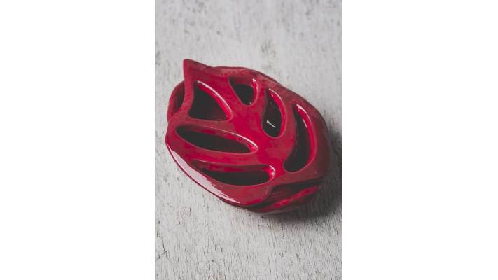 Porte-savons Philo rouge sur fond impression bois ou pin