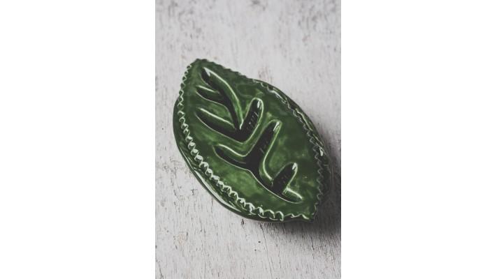Porte-savons feuille allongée vert forêt